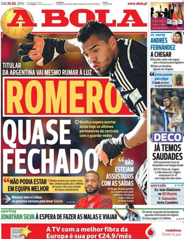Capa do jornal A BOLA 26 Julho 2014
