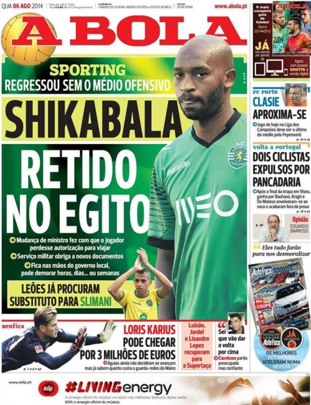 Capa do jornal A BOLA 06 Agosto 2014
