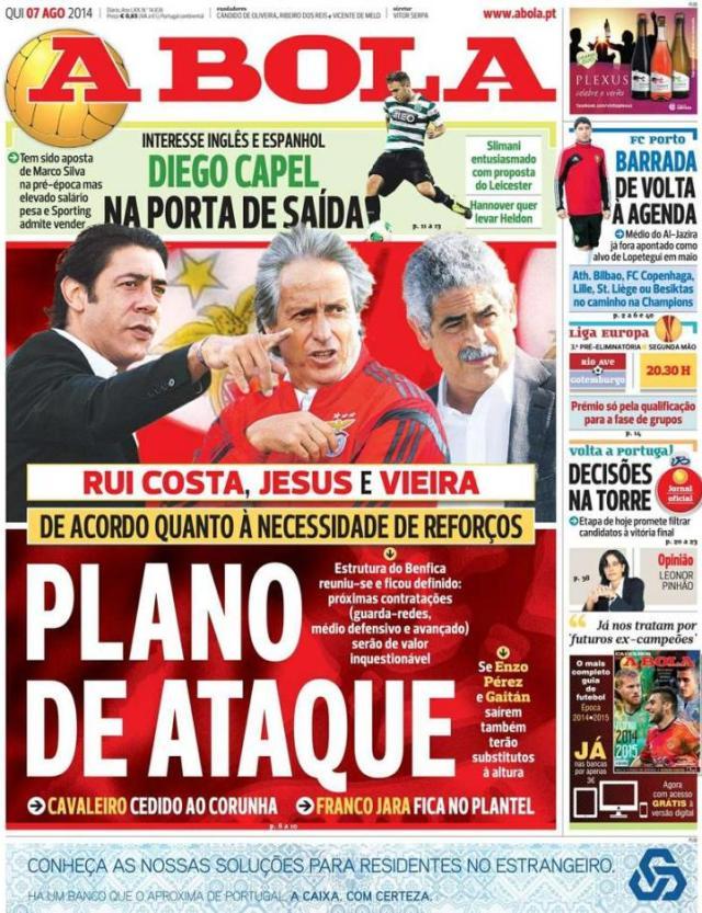 Capa do jornal A BOLA 07 Agosto 2014