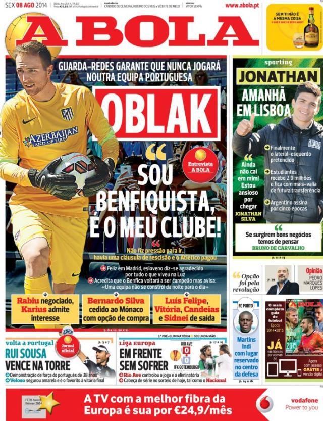 Capa do jornal A BOLA 08 Agosto 2014