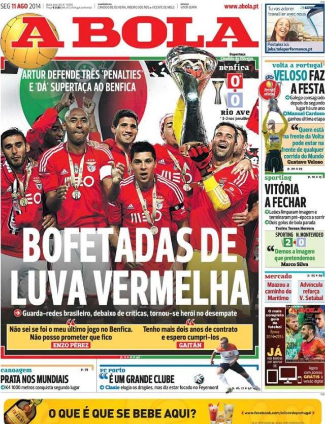 Capa do jornal A BOLA 11 Agosto 2014