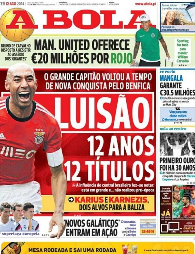 Capa do jornal A BOLA 12 Agosto 2014