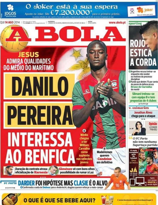 Capa do jornal A BOLA 14 Agosto 2014