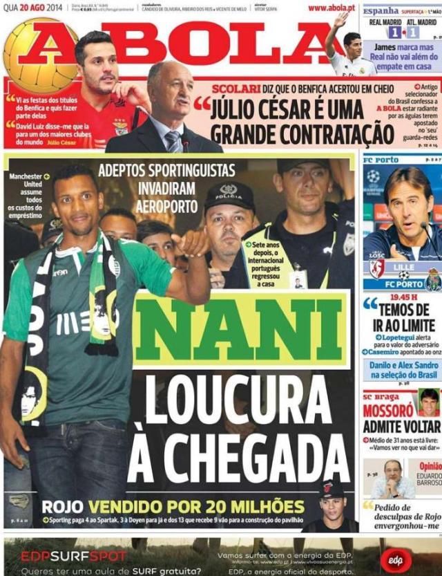 Capa do jornal A BOLA 20 Agosto 2014