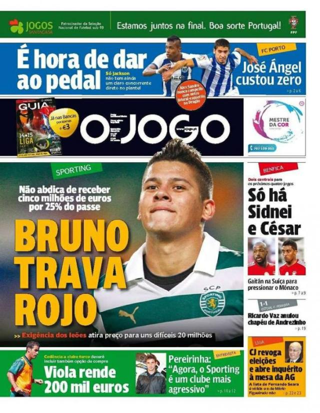 Capa do Jornal O JOGO de 30 de Julho de 2014