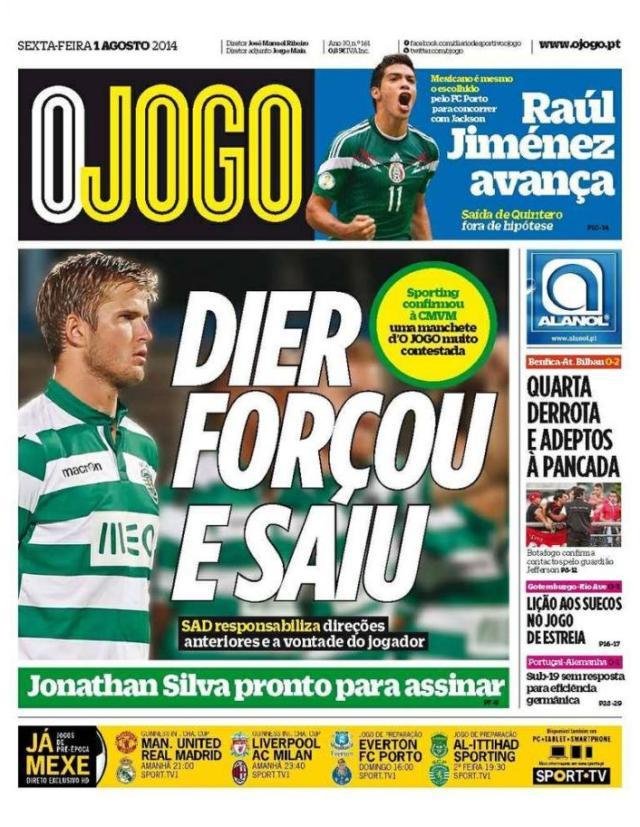 Capa do Jornal O JOGO de 01 de Agosto de 2014