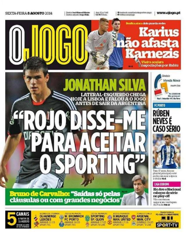 Capa do Jornal O JOGO de 08 de Agosto de 2014