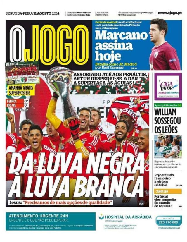 Capa do Jornal O JOGO de 11 de Agosto de 2014