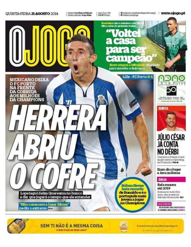Capa do Jornal O JOGO de 21 de Agosto de 2014