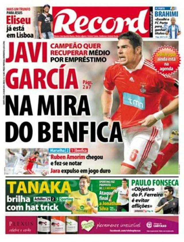 Capa do Jornal Record de 24 de Julho 2014