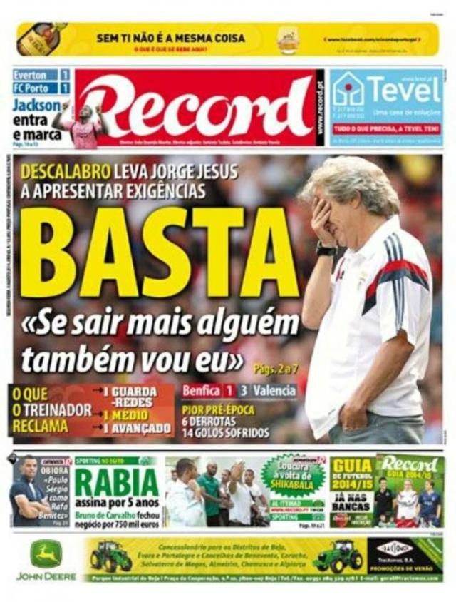 Capa do Jornal Record de 04 de Agosto 2014