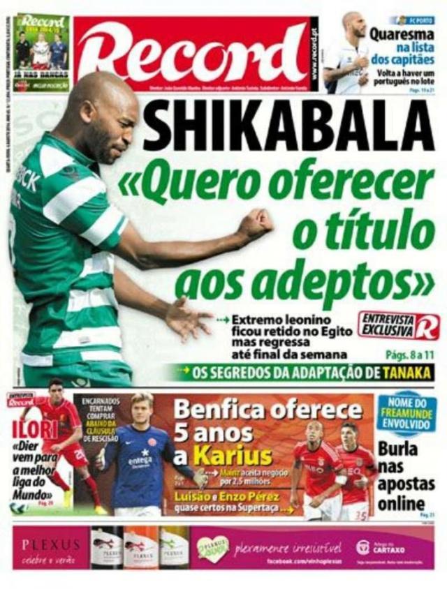 Capa do Jornal Record de 06 de Agosto 2014