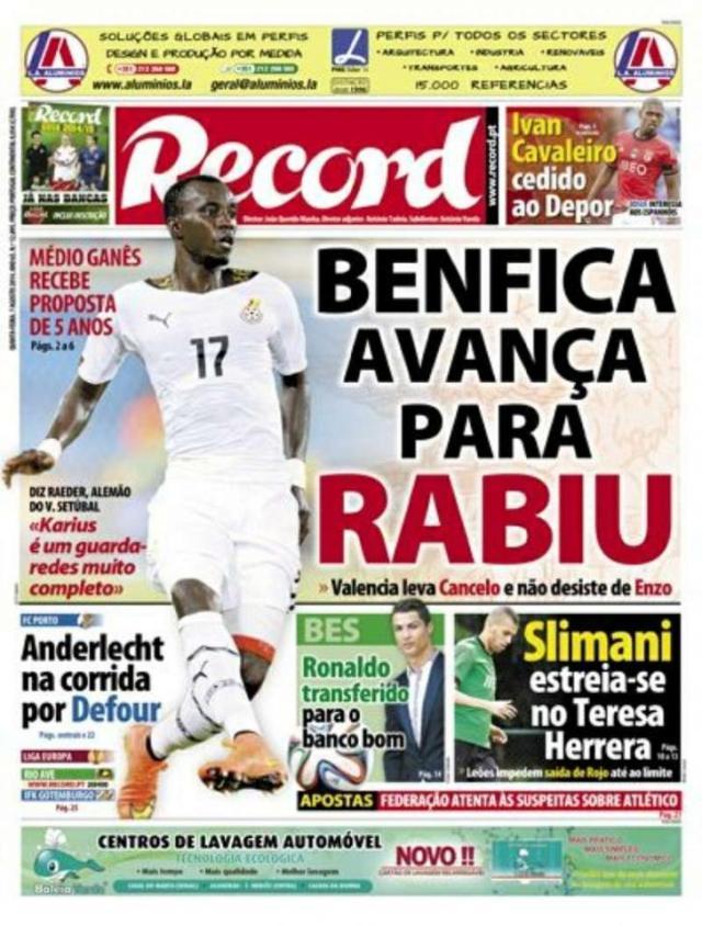 Capa do Jornal Record de 07 de Agosto 2014