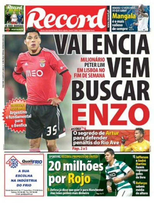 Capa do Jornal Record de 12 de Agosto 2014