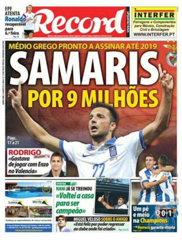 Capa do Jornal Record de 21 de Agosto 2014