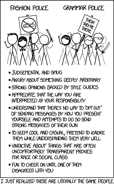 Full, detailed and wonderful description of this complex image is available at https://www.explainxkcd.com/wiki/index.php/1735:_Fashion_Police_and_Grammar_Police
