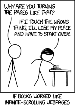 A cartoon image of a person carefully turning the pages of a book on a table.