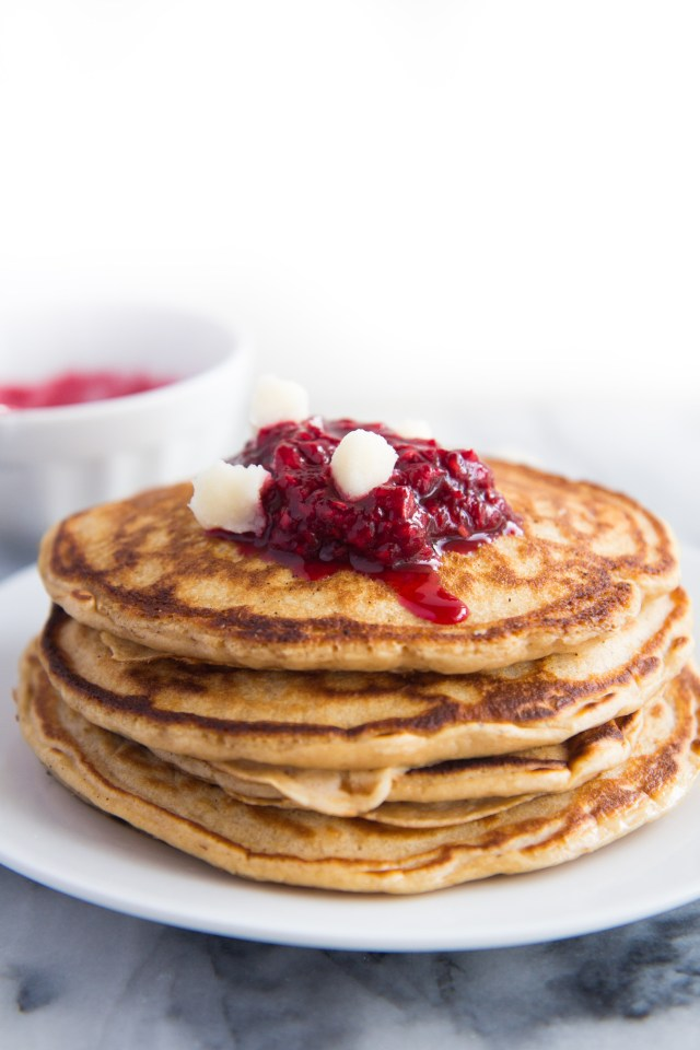 Whole Wheat Coconut Chip Pancakes-4