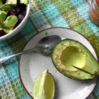 Beet, avocado and feta wraps