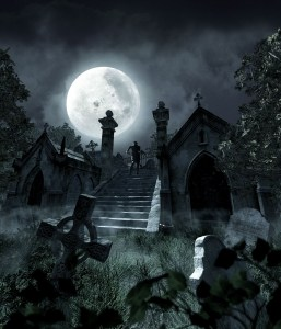 Moon-lit creepy graveyard
