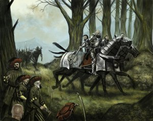A picture of some Empire Knights organising an ambush to illustrate the Warhammer Quest Dungeon Event entitled 'Abush!'.