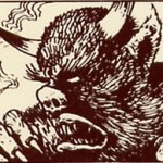 Artwork from the Wandering Monster card from MB Games' HeroQuest, illustrating the Wandering Monster Travelling Hazard for Warhammer Quest