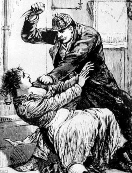 """""""Jack the ripper attacks woman"""" , vue d'artiste, paru dans Police Gazette en 1888"""