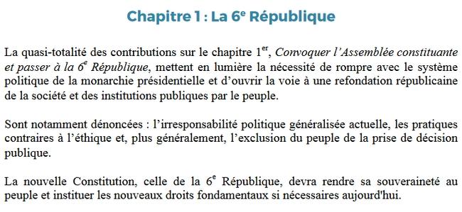 Extrait de la synthèse se son programme : création d'une VIème République, plus de transparence dans les instances
