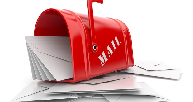 Red mail box with heap of letters. 3D illustration isolated