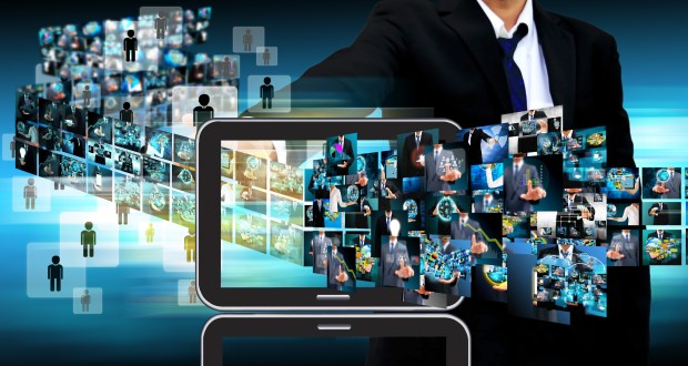 businessman Contact Television and internet production .technology and business concept
