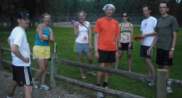 Our 2011 Spokane to Sandpoint relay team. Jody is on the far left. I'm at right, wearing the white T.