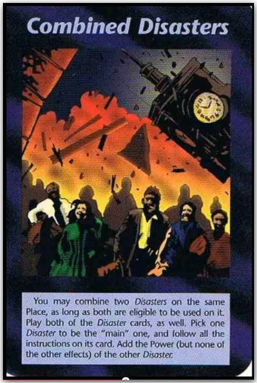 "The Illuminati Playing cards have prophecized many events, including 9-11. In the ""Combined Disasters"" card, one can clearly see Big Ben tumbling down while in the forefront while a man wearing a yellow shirt is shown to have a zombie-like appearance."