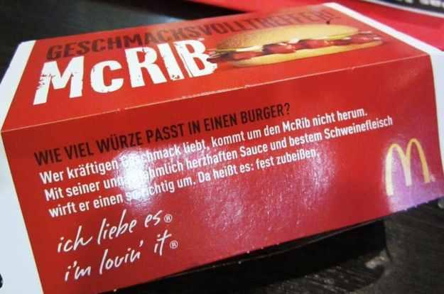 McDonald's McRib in Germany sandwich