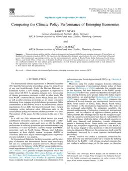 Comparing the Climate Policy Performance of Emerging Economies