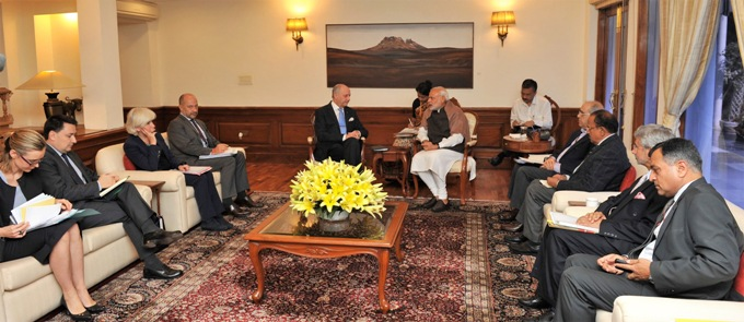 The Foreign Minister of France, Laurent Fabius met Indian Prime Minister, Narendra Modi in an effort to ensure a Paris climate deal (Image by Press Information Bureau, Government of India)