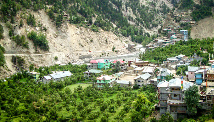 Terraced orchards around the village. The Kashang project is just one of many in Kinnaur which has led to the landscape being torn apart, sliding, cracking and quaking every other day. Little wonder that the people of the region welcomed the National Green Tribunal's judgment. (Photo by Prakash Bhandari)