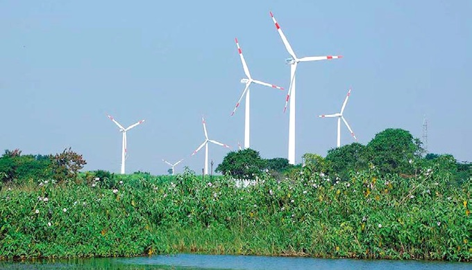 A wind farm in Dhule, Maharashtra. (Photo by Suzlon)
