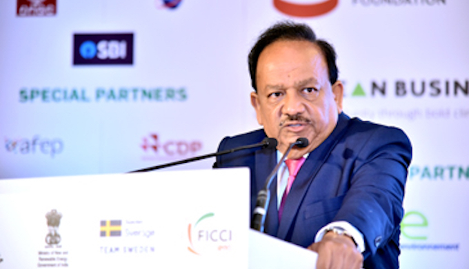India's Environment Minister Harsh Vardhan speaking at the Business and Climate Summit held in New Delhi. (Photo by FICCI)