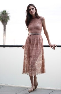 Body Frock Nude Lace with Bling belt.