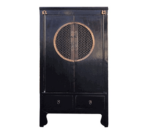 Black Lacquer Chinese Cabinet via Golden Lotus Antiques