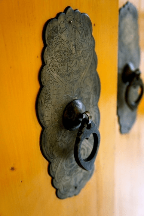 Etched Brass Chinese Door Pulls