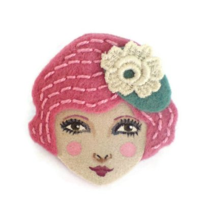 Flapper Girl Felt Brooch