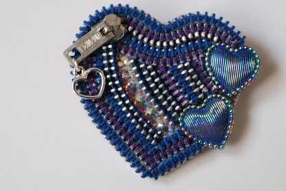 Blue Zipper Heart