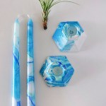 Blue Marbling Candle + Holder
