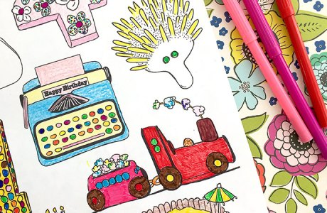 Birthday Cakes– Free Printable Coloring Page