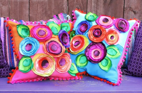 DIY No Sew Flower Pillows