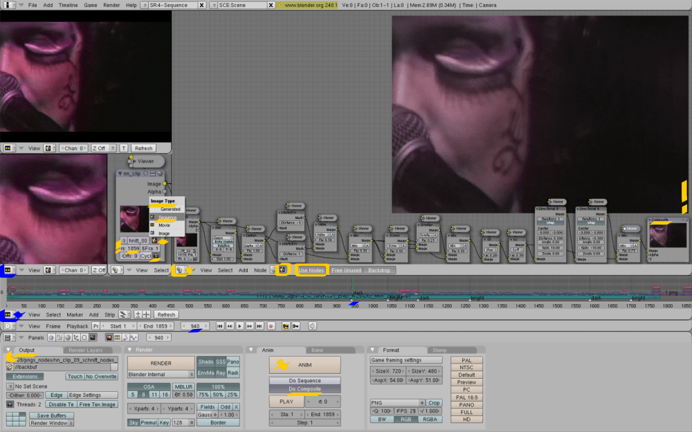 Editing with Blender, Ubuntu: Screenshots, workflow from my Notic Nastic live clip (6/6)