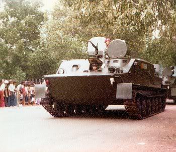 BTR-50 dalam HUT ABRI 1978. Terlihat senjata DShK-38 lengkap dengan perisai pelindung baja