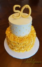 Gold 50th Birthday Cake