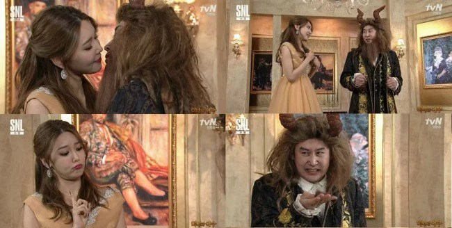 《SNL Korea 9》秀英與申東燁變身為「美女與野獸」